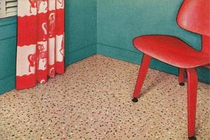 1950s Corner Interior with Red Chair and Curtains