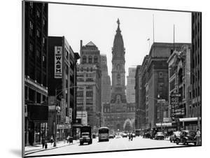 1950s Downtown Philadelphia,, PA  Looking South Down North Broad Street at City Hall