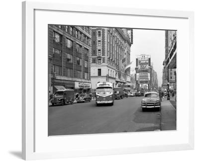 1950s New York City Times Square Traffic Broadway Bus Looking North to Duffy Square--Framed Photographic Print