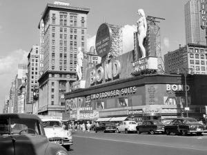 1950s New York City Times Square with Massive Bond Clothing Sign Between 44th and 45th Streets