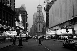 1950s Night Times Square Looking South from Duffy Square to Ny Times Building Movie Marquees