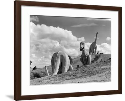 1950s Three Life-Size Dinosaur Statues on Hillside Dinosaur Park Established 1936 Rapid City--Framed Photographic Print