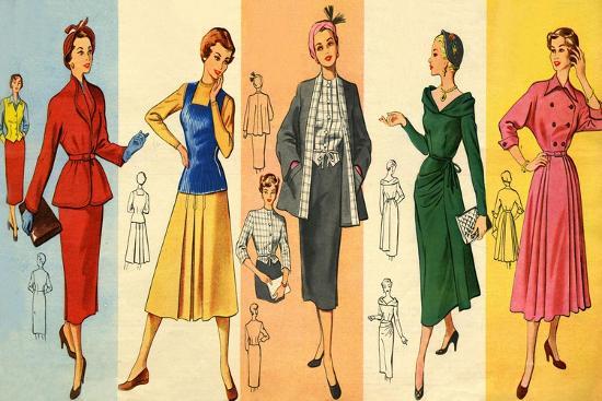 60s UK Dress Patterns Magazine Plate Giclee Print By Art Enchanting 1950s Patterns