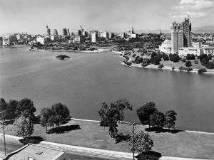 1950s with Lake Merritt in Foreground Skyline View of Oakland, California