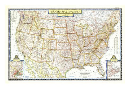1951 United States of America Map Art Print by National Geographic ...