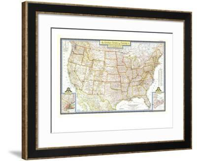 1951 United States of America Map-National Geographic Maps-Framed Art Print