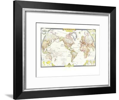 1951 World Map-National Geographic Maps-Framed Art Print