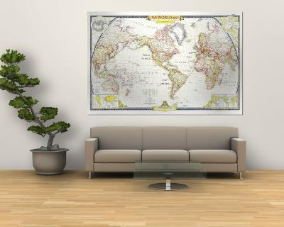 National Geographic World Map Murals.1951 World Map Wall Mural By National Geographic Maps Art Com