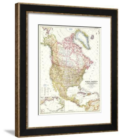 1952 North America Map-National Geographic Maps-Framed Art Print