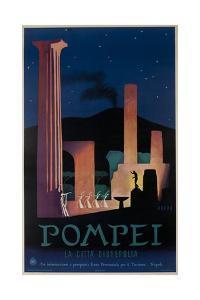 1952 Pompeii Italy Travel Poster