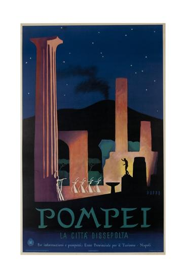 1952 Pompeii Italy Travel Poster--Giclee Print