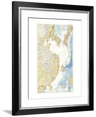 1953 China Coast and Korea Map-National Geographic Maps-Framed Art Print