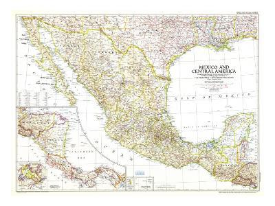 1953 Mexico and Central America Map-National Geographic Maps-Art Print