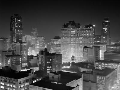1954 Night Skyline Retail Business Area Detroit, Michigan