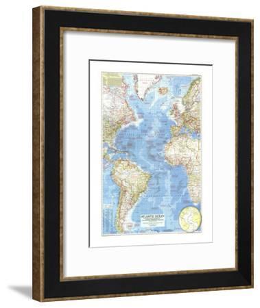 1955 Atlantic Ocean Map-National Geographic Maps-Framed Art Print
