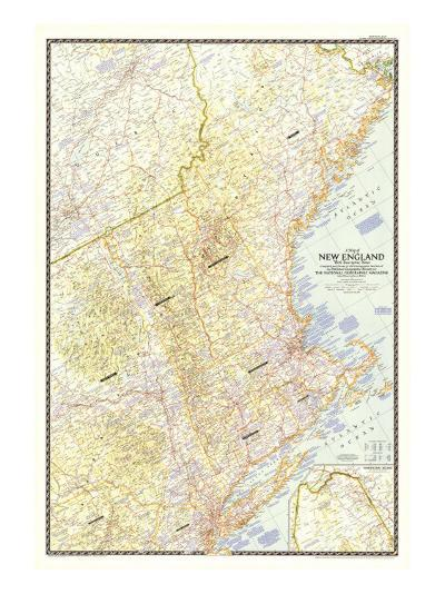1955 Map of New England with Descriptive Notes-National Geographic Maps-Art Print