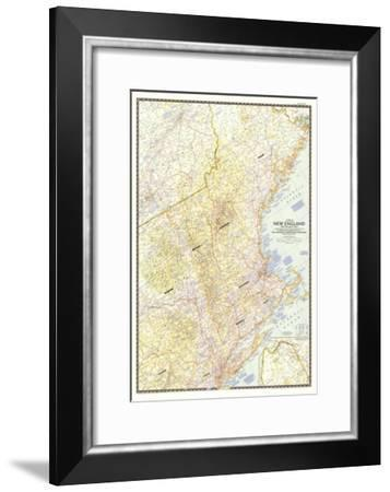 1955 Map of New England with Descriptive Notes-National Geographic Maps-Framed Art Print