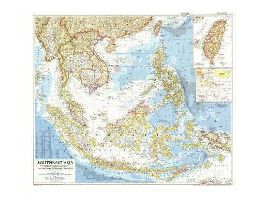 Geographical Map Of Southeast Asia.1955 Southeast Asia Map Art Print By National Geographic Maps Art Com