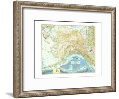 1956 Alaska Map-National Geographic Maps-Framed Art Print