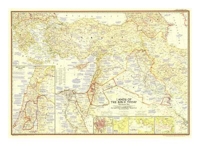 1956 Lands of the Bible Today Map-National Geographic Maps-Art Print