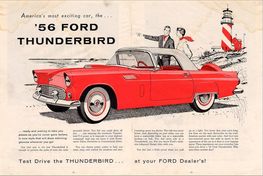 1956 Thunderbird - Exciting Stretched Canvas Print by | Art com