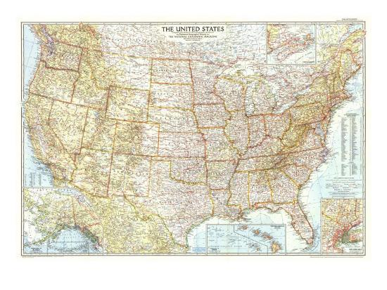 1956 United States Of America Map Art Print National Geographic