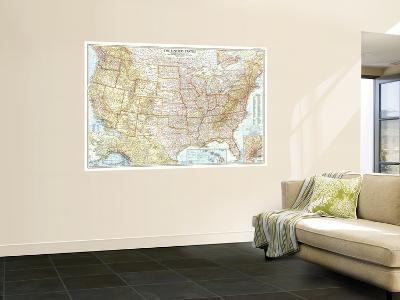 1956 United States of America Map-National Geographic Maps-Wall Mural