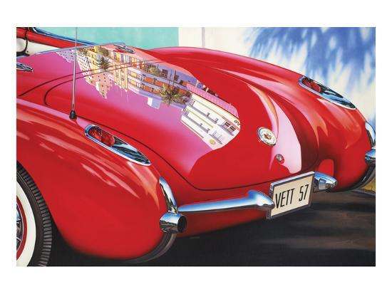 1957 Corvette-Graham Reynolds-Art Print