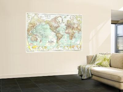 1957 World Map-National Geographic Maps-Wall Mural