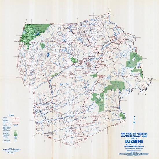 1958, Luzerne County Map, Pennsylvania, United States Giclee Print on