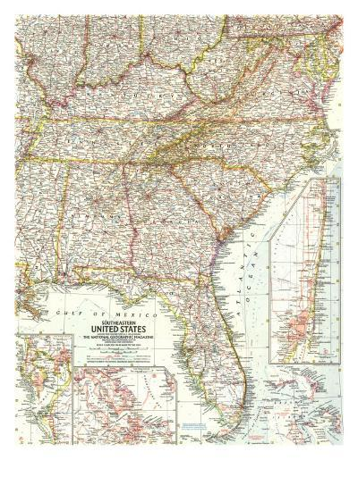 1958 Southeastern United States Map-National Geographic Maps-Art Print