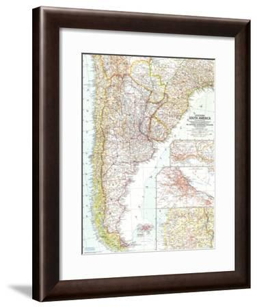 1958 Southern South America Map-National Geographic Maps-Framed Art Print