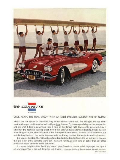 1959 GM Corvette Sports Car--Art Print