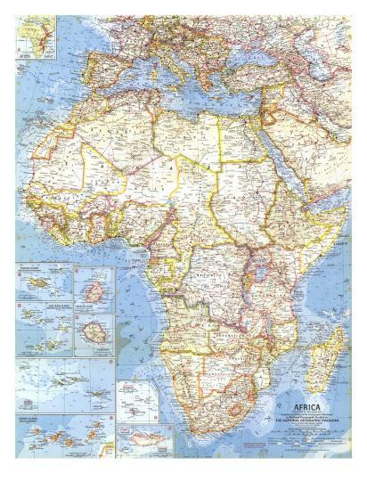 1960 Africa Map Art Print By National Geographic Maps Art Com