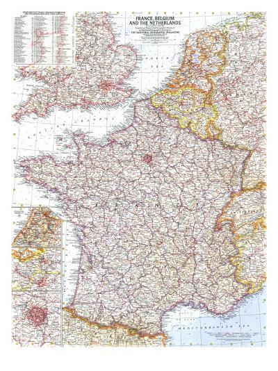 1960 France, Belgium and the Netherlands Map-National Geographic Maps-Art Print