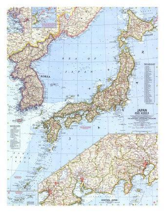 graphic about Printable Maps of Japan identified as 1960 Japan and Korea Map Artwork Print via Nationwide Geographic Maps