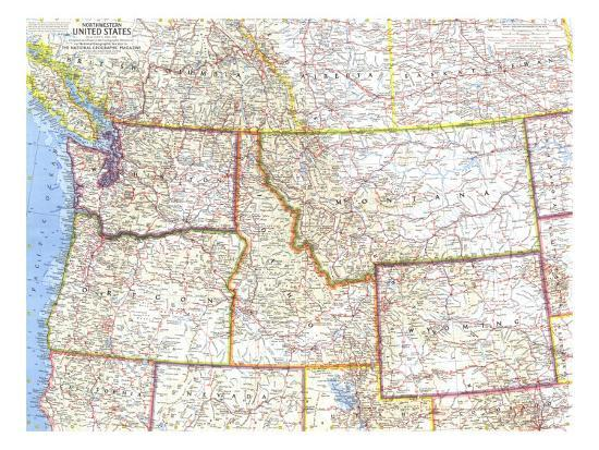 1960 Northwestern United States Map Art Print by National Geographic ...