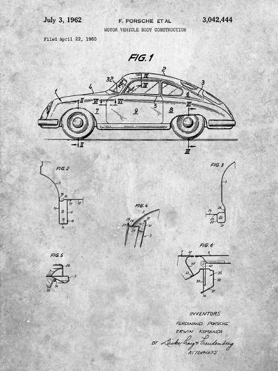 1960 Porsche 365 Patent-Cole Borders-Art Print