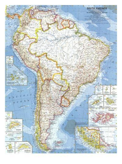 1960 South America Map-National Geographic Maps-Art Print