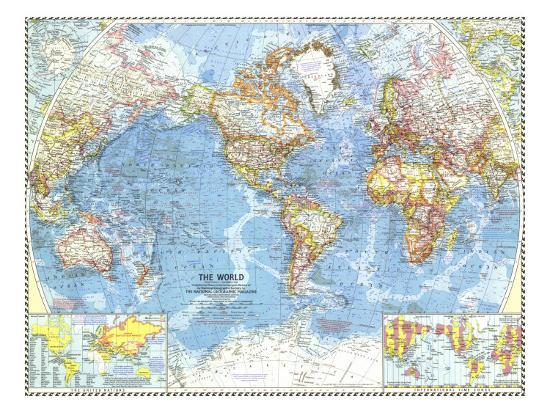 Geographic Map Of World.1960 World Map Art Print By National Geographic Maps Art Com