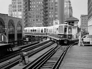 1960s-1970s Chicago, Public Transportation El Train Turning into the Loop on Wells Street