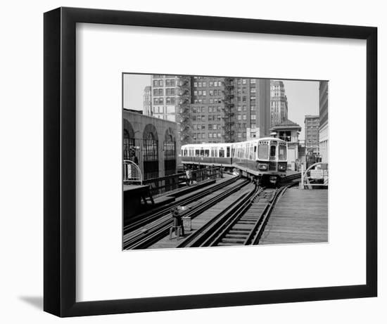 1960s-1970s Chicago, Public Transportation El Train Turning into the Loop on Wells Street-null-Framed Photographic Print