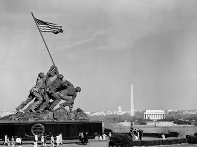 1960s Marine Corps Monument in Arlington, with Washington DC Skyline in Background