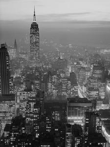 1960s Night View Manhattan Empire State Building Looking South from Midtown