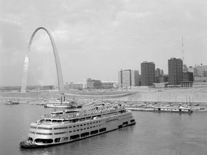 1960s St. Louis Missouri Gateway Arch Skyline Mississippi River SS Admiral Casino
