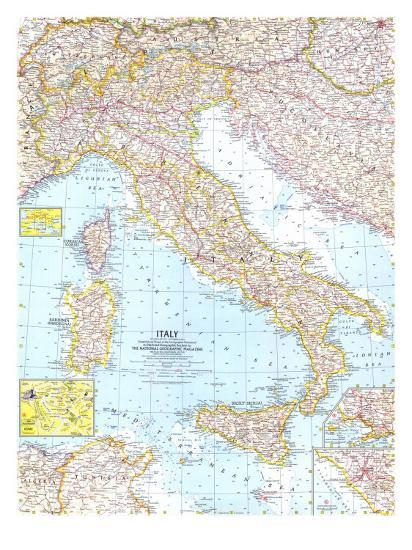 1961 Italy Map Art Print By National Geographic Maps Art Com