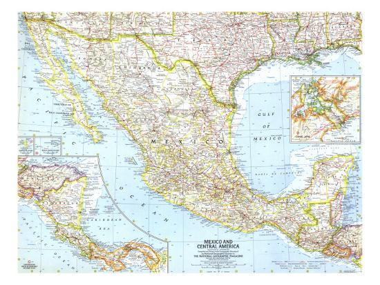 1961 Mexico and Central America Map Art Print by National Geographic on genetic map of mexico, generic map of mexico, climate map of mexico, 15 geographical features of mexico, political map of mexico, natural map of mexico, geography of mexico, geophysical map of mexico, environmental map of mexico, map of cancun mexico, bing maps of mexico, blank map of mexico, tectonic map of mexico, demographic map of mexico, topological map of mexico, qualitative map of mexico, detailed map of mexico, territorial map of mexico, artistic map of mexico, geology map of mexico,