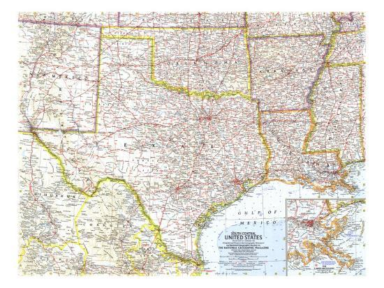 1961 South Central United States Map Art Print by National ...