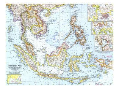 photograph relating to Printable Map of Southeast Asia named 1961 Southeast Asia Map Artwork Print through Countrywide Geographic Maps