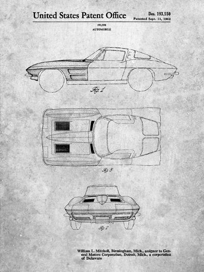 1962 Corvette Stingray Patent-Cole Borders-Art Print